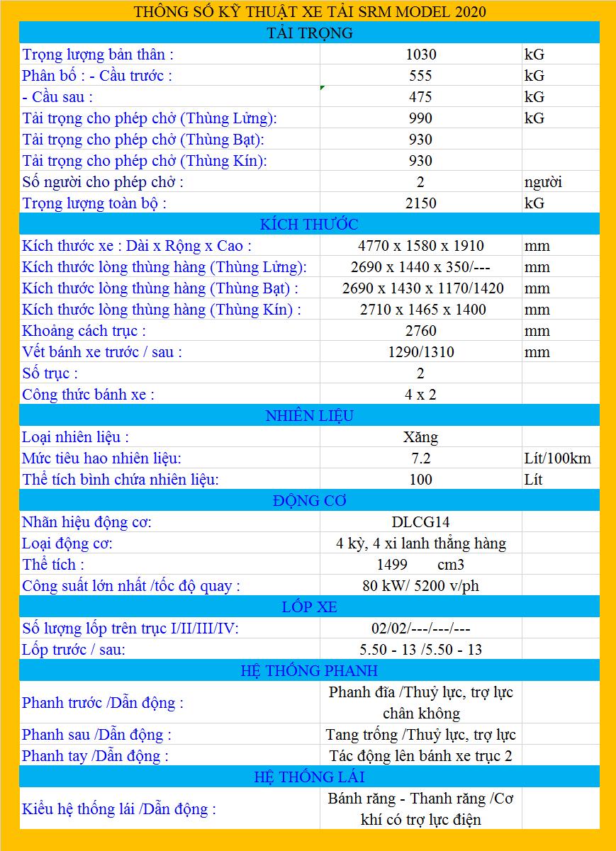 THÔNG SỐ SRM 990KG